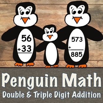 Double and Triple Addition Penguin Task Cards