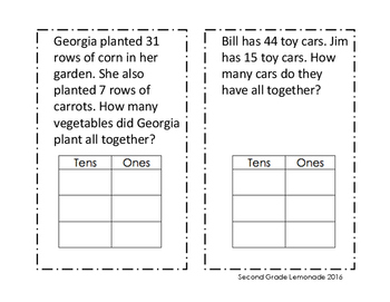Double and Triple Digit Addition Story Problems (without regrouping)