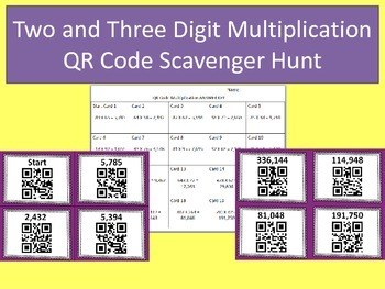Double and Triple Digit Multiplication QR Code Scavenger Hunt