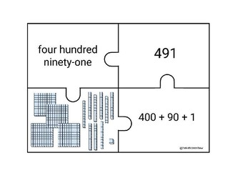 Double and Triple Digit Number Sense Puzzles up to 1,200
