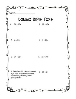 Double-digit Assessment Freebie