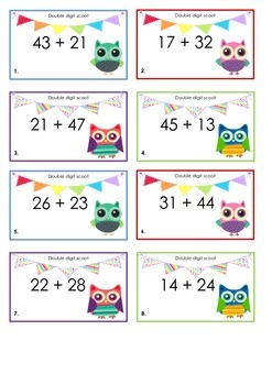 Double digit addion scoot game