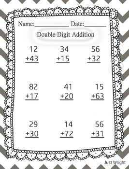 Double digit addition math printable worksheet
