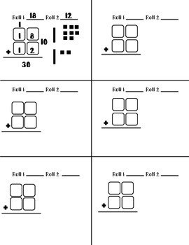 Double digit addition with and without regrouping dice game
