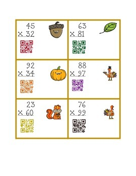 Double digit multiplication Fall QR reader