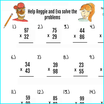 2pgs Double Digit Multiplication Worksheets and Answer key, 50 problems