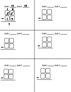 Double digit subtraction with and without regrouping dice game