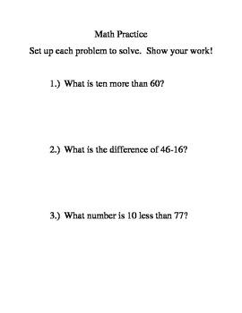 Double digit word problems/ ten more ten less