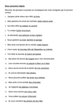 Pronoms compléments Double object pronouns French worksheet 2
