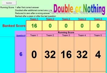 Double or Nothing Review Activity - School License  A Pinkley Product