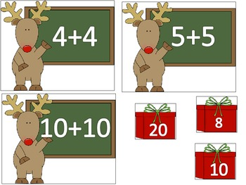 Doubles 0-12 Reindeer Addition Math Center Activity Christmas or Holiday Themed