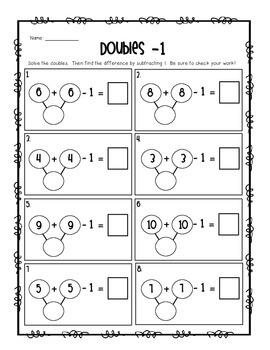 Doubles + 1, -1, +2, -2 Activity