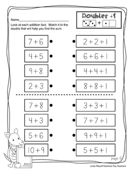 Doubles +1:  Addition Strategy Worksheets