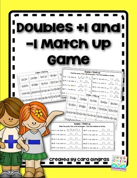 Doubles +1 and -1 Math facts for K/1 {Matching Game}