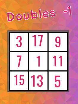Doubles -1 bingo, maths, addition, subtraction
