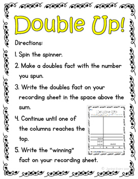 Doubles and Doubles +1:  Activities and Printables