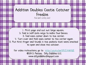 Doubles Addition Cootie Catcher (single digit)
