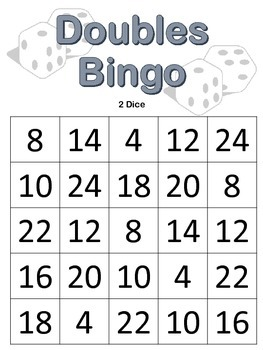 Doubles BINGO with 2 dice {math center or math tub game}