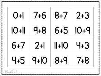 Doubles Bingo (includes doubles +/- 1)