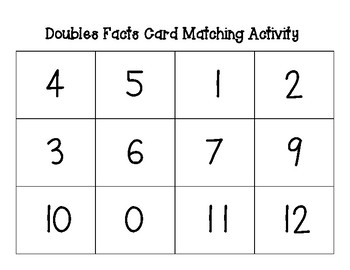 Doubles Card Matching Activity