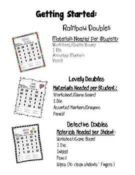 Doubles Dice Games/Worksheet