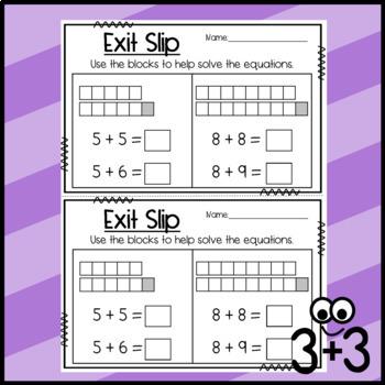 Doubles,Doubles Plus 1, Doubles Plus 2 Exit Slips: Equations, Word Problems, etc