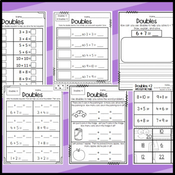 Doubles, Doubles Plus 1, and Doubles Plus 2 Sorts and Worksheets