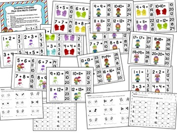 Doubles & Doubles Plus One Mega Pack of Centers with Activities & Mitten Craft