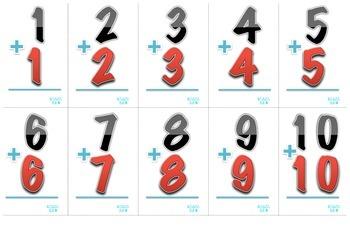 Doubles-Doubles+1-Make10-Crazy 9 Math Center- Dual Languag