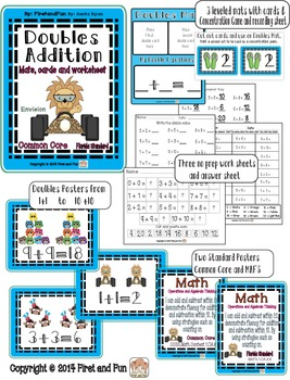 Doubles Addition Common Core MAFS  Mat  worksheets flashcards games