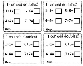 Doubles Exit Tickets + Doubles Practice Sheet!
