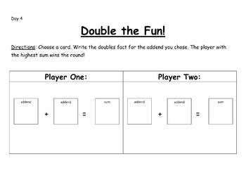 Doubles Fact Pack-EDITABLE!