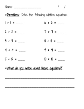 Doubles Fact Practice - number bonds and equations