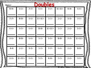Simple Print and Go Doubles Fact Worksheets