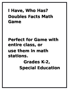Doubles Facts Addition for K-2 Math and Special Education