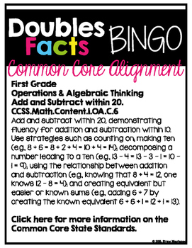 Doubles Facts Bingo