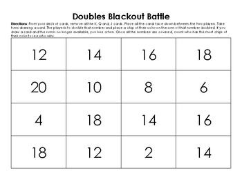 Doubles Facts: DOUBLES BLACKOUT BATTLE