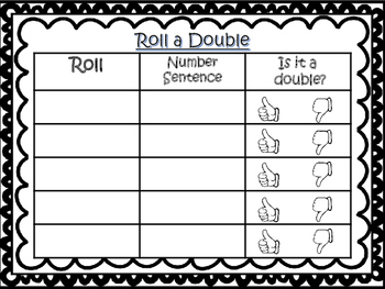 Doubles Facts Dice