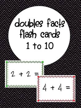 Doubles Facts Flash Cards 1 to 10