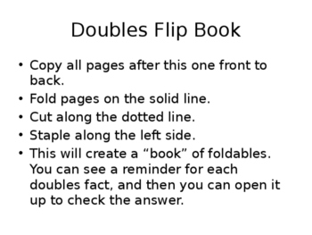 Doubles Facts Interactive Book