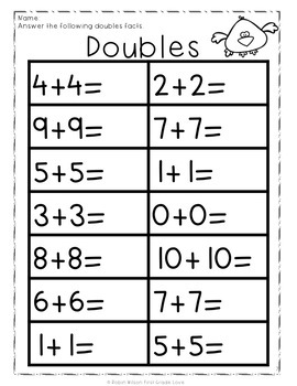Doubles Facts Activities