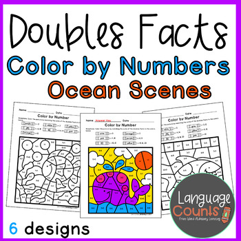 Doubles Facts to 20- Color by Number- Ocean Themed