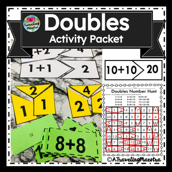 Doubles Flashcards 1-12 (with answers on back)+ 2 page practice sheet