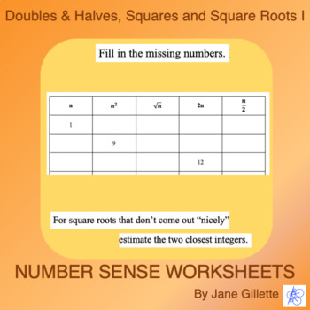 Doubles, Halves, Squares, and Square Roots I
