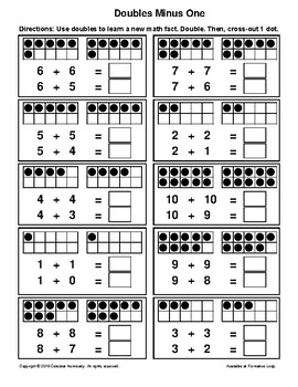 Doubles MINUS 1 - with Dots (Visual) - Learning Addition Facts - FREE