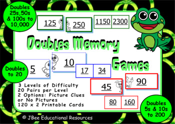 Doubles Maths Memory Games: 120 Cards, 3 Difficulty Levels
