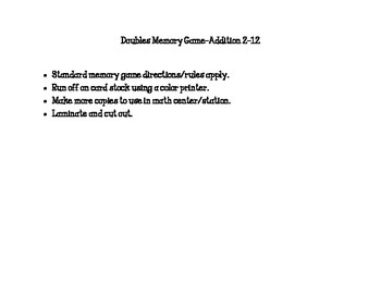 Doubles Memory Game: Addition 2-12
