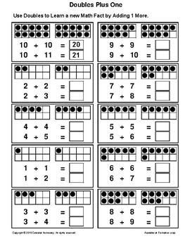 Doubles PLUS 1 - with Dots (Visual) - Learning Addition Facts - FREE