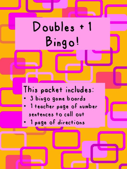 Doubles Plus 1 BINGO!