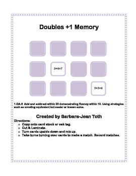 Doubles Plus 1 Memory